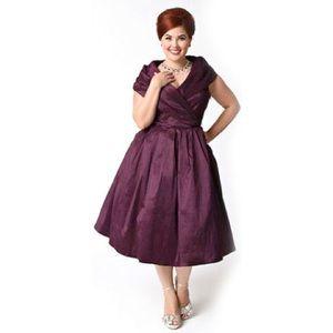 Lindy Bop Plum Formal Retro Dress NWT